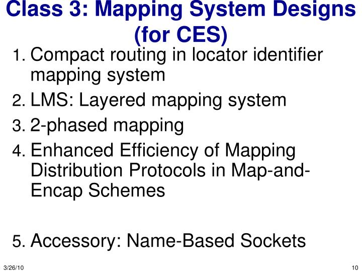 Class 3: Mapping System Designs (for CES)