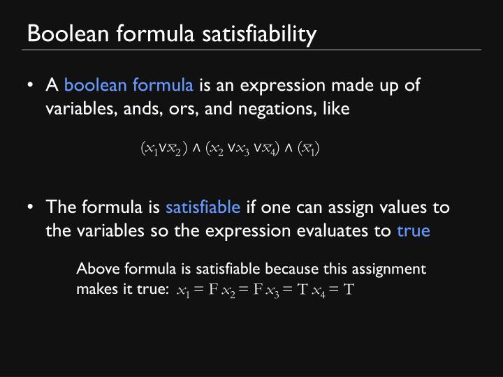 Boolean formula satisfiability
