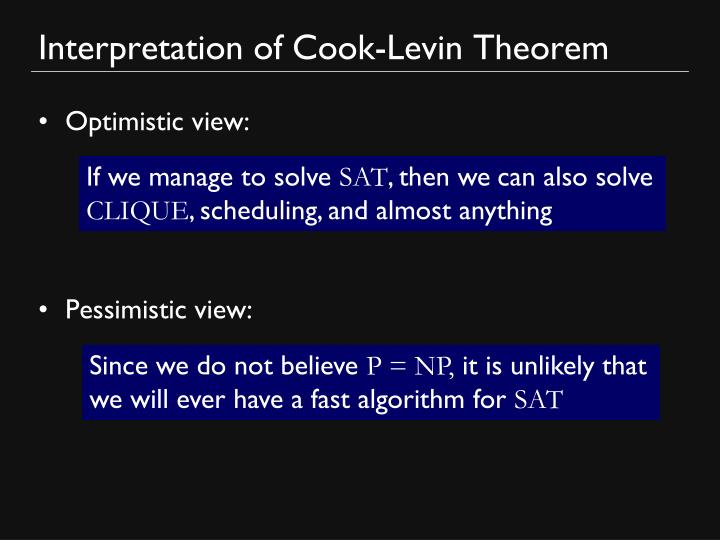 Interpretation of Cook-Levin Theorem