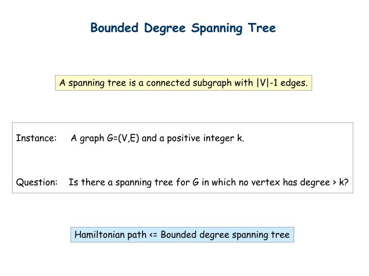 Bounded Degree Spanning Tree