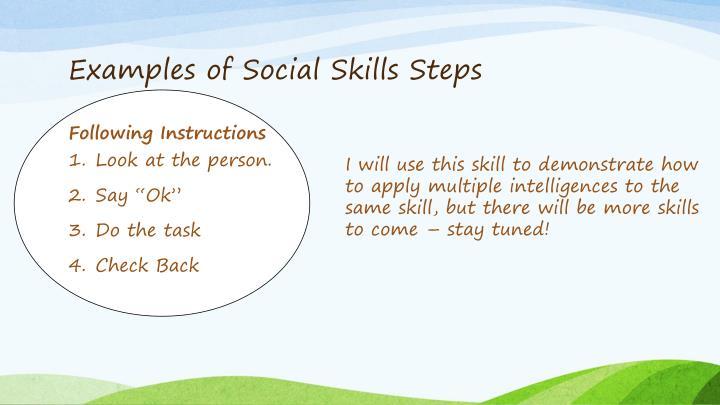 Examples of Social Skills Steps