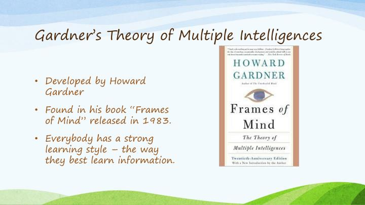 howard gardner theory essay Howard gardner (multiple intelligences) learning is the aspect of solving problems that are valued in diverse cultural arrangements based on howard gardner 'theory of multiple.