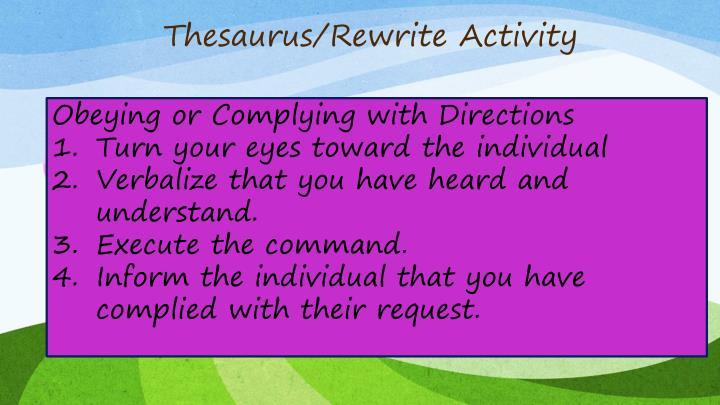 Thesaurus/Rewrite Activity