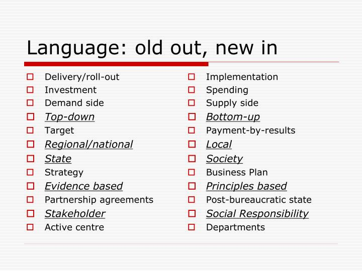 Language: old out, new in