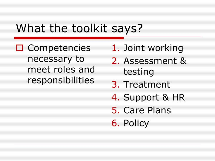 What the toolkit says?