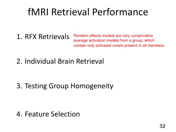 fMRI Retrieval Performance
