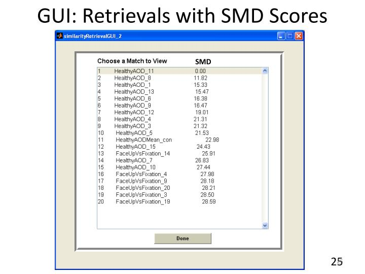 GUI: Retrievals with SMD Scores