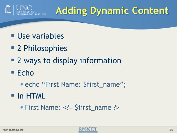 Adding Dynamic Content
