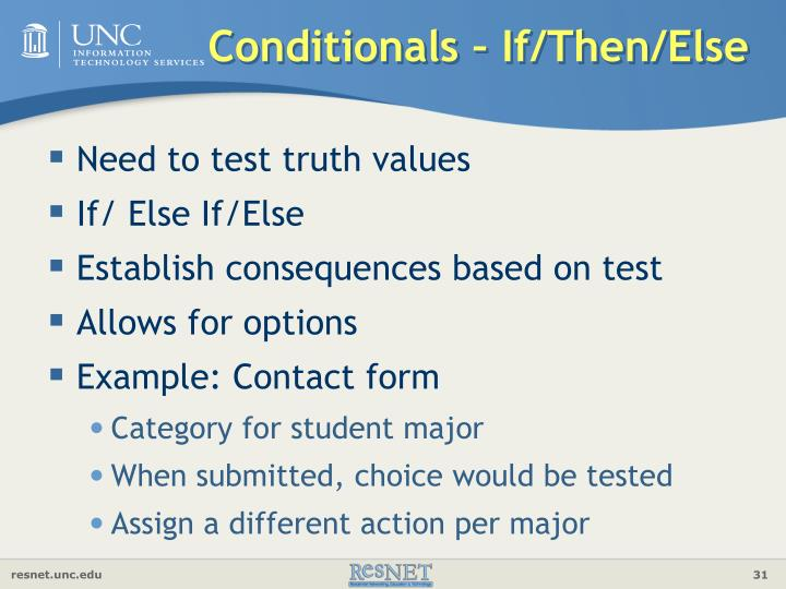 Conditionals – If/Then/Else