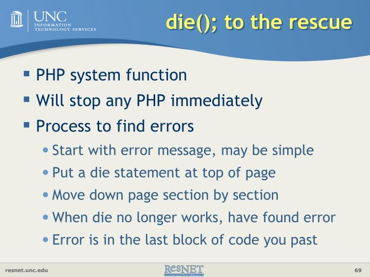 die(); to the rescue