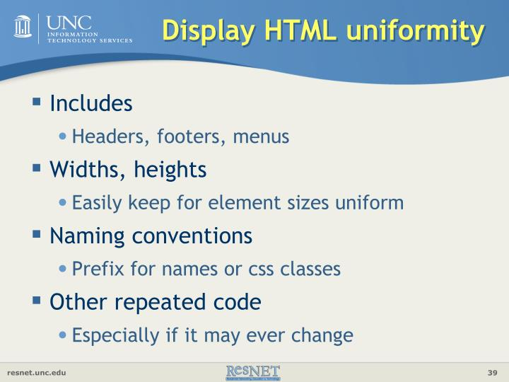 Display HTML uniformity