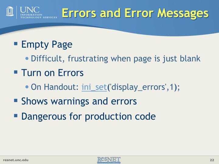 Errors and Error Messages