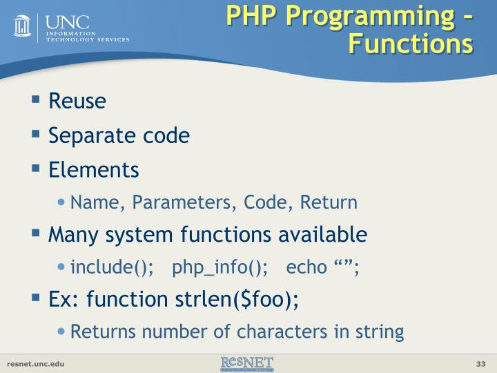 PHP Programming – Functions