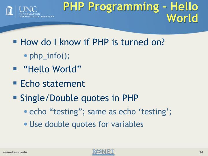 PHP Programming – Hello World