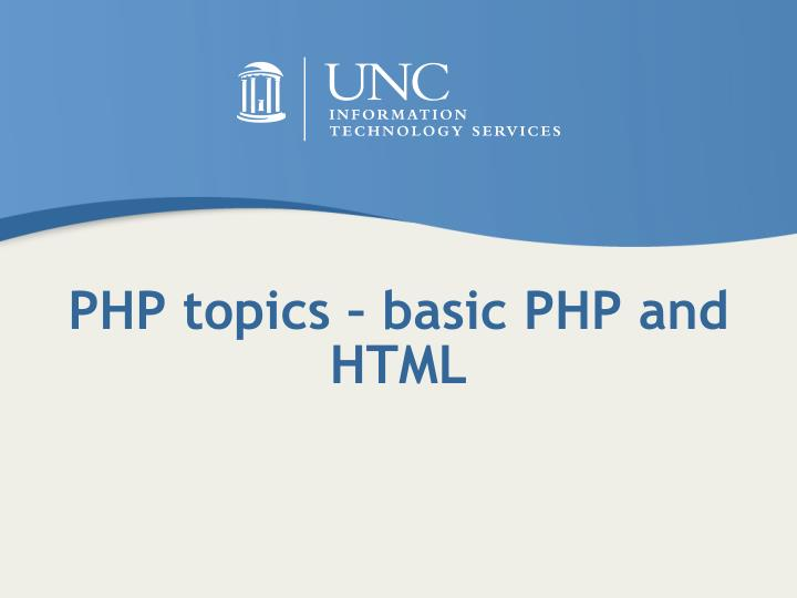 PHP topics – basic PHP and HTML