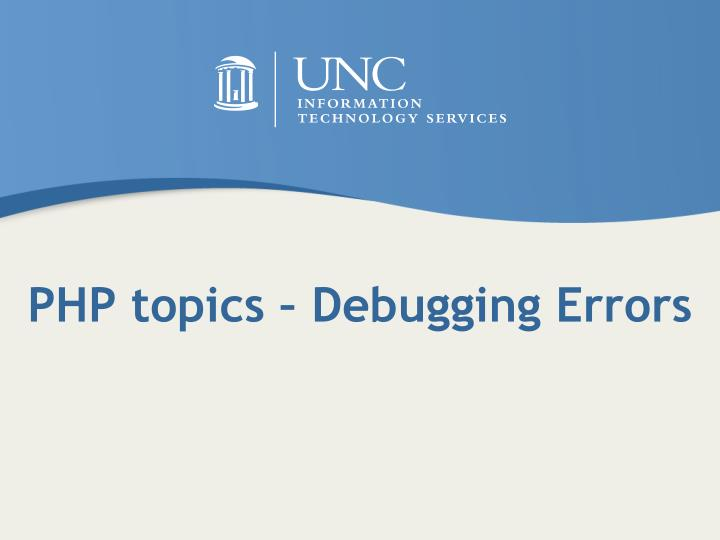 PHP topics – Debugging Errors