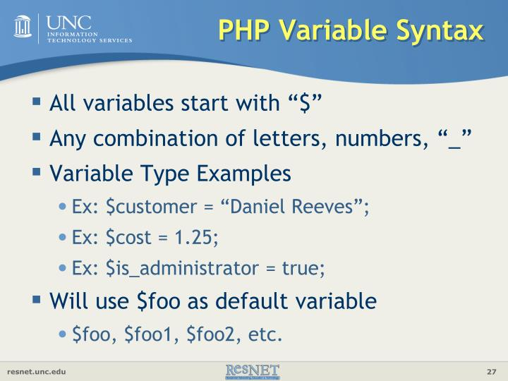 PHP Variable Syntax