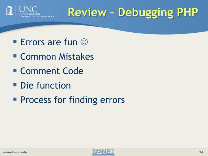 Review – Debugging PHP