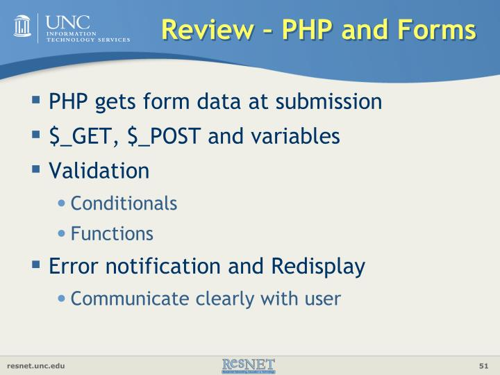 Review – PHP and Forms