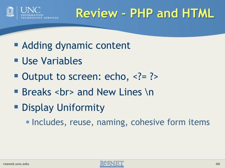 Review – PHP and HTML