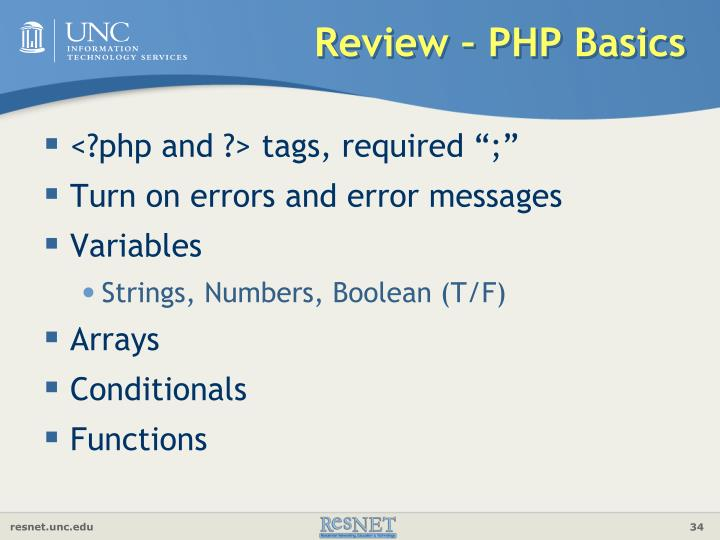 Review – PHP Basics