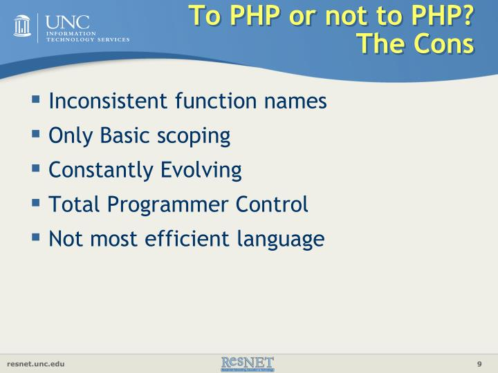To PHP or not to PHP?  The Cons