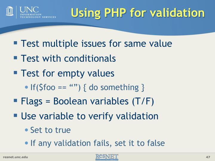 Using PHP for validation
