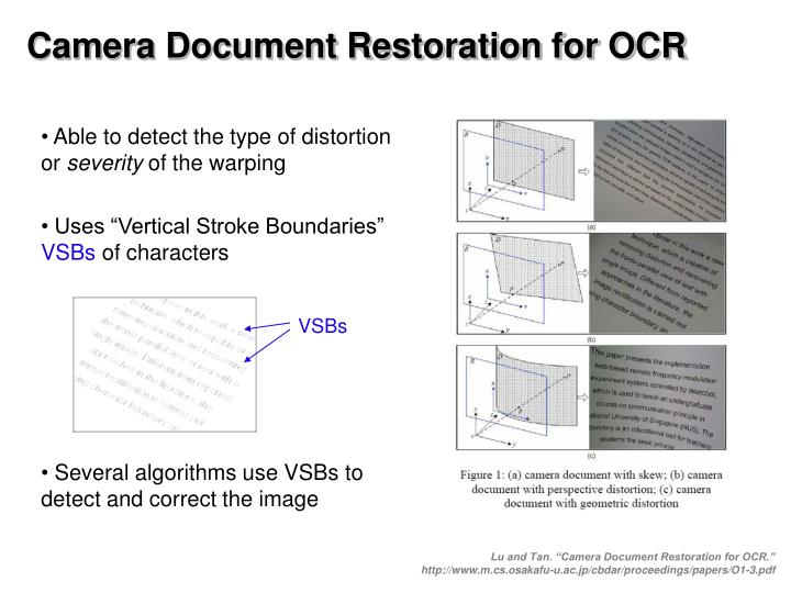 Camera Document Restoration for OCR