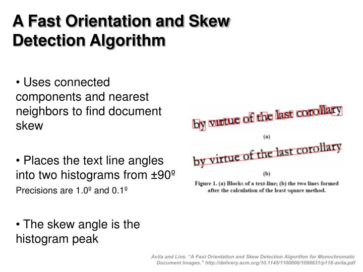 A Fast Orientation and Skew Detection Algorithm