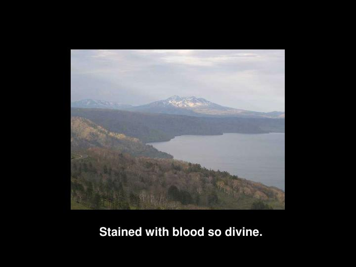 Stained with blood so divine