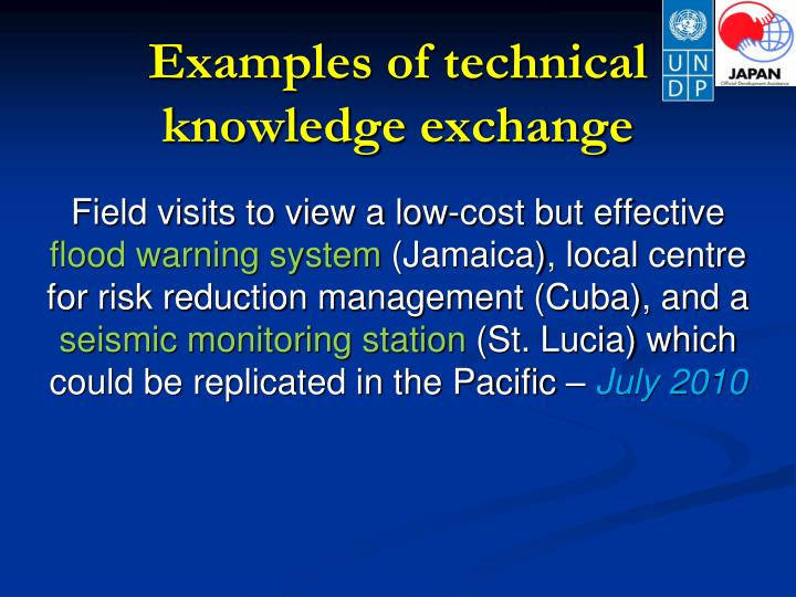 Examples of technical knowledge exchange