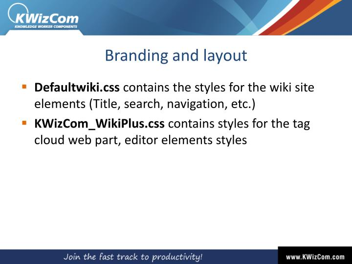 Branding and layout