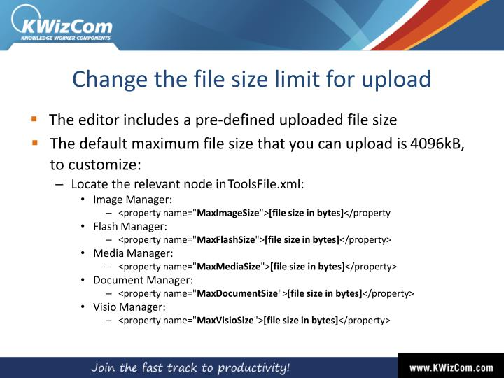 Change the file size limit for upload