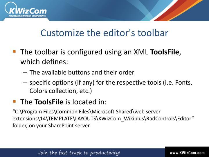 Customize the editor's toolbar