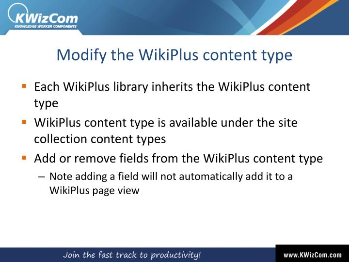 Modify the WikiPlus content type