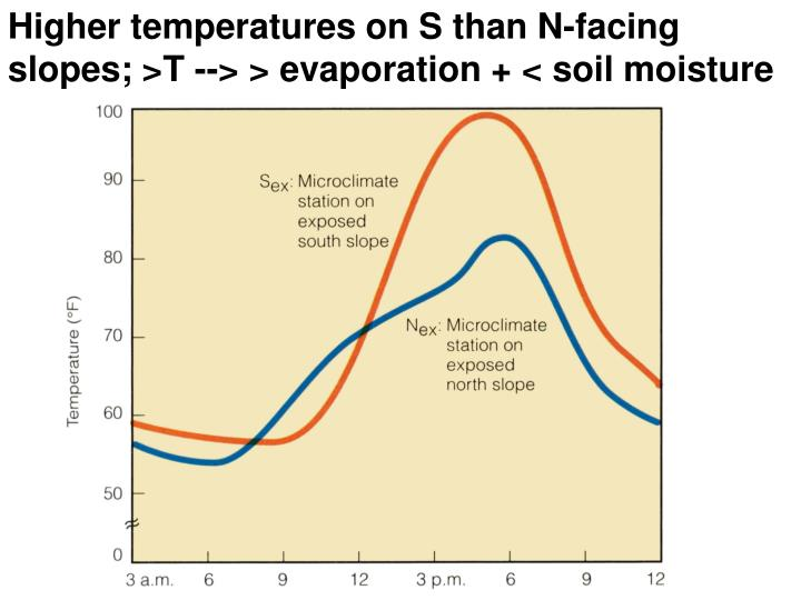 Higher temperatures on S than N-facing slopes; >T --> > evaporation + < soil moisture