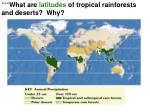 what are latitudes of tropical rainforests and deserts why