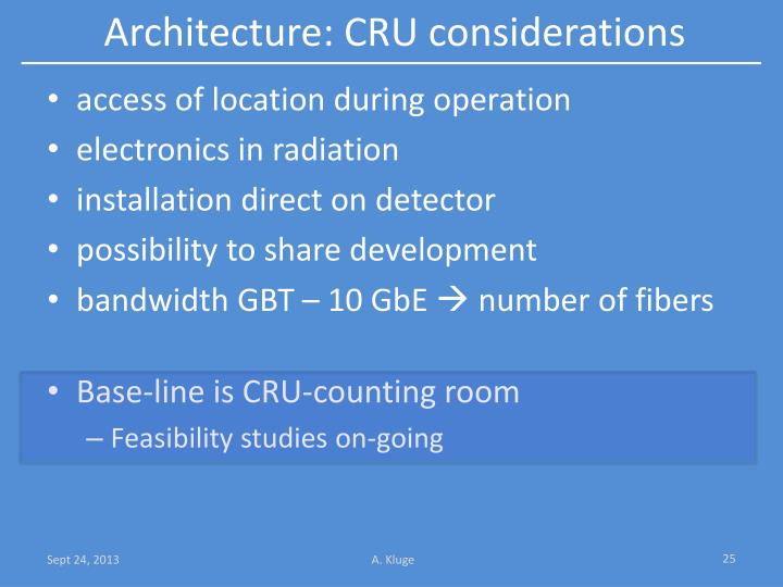 Architecture: CRU considerations
