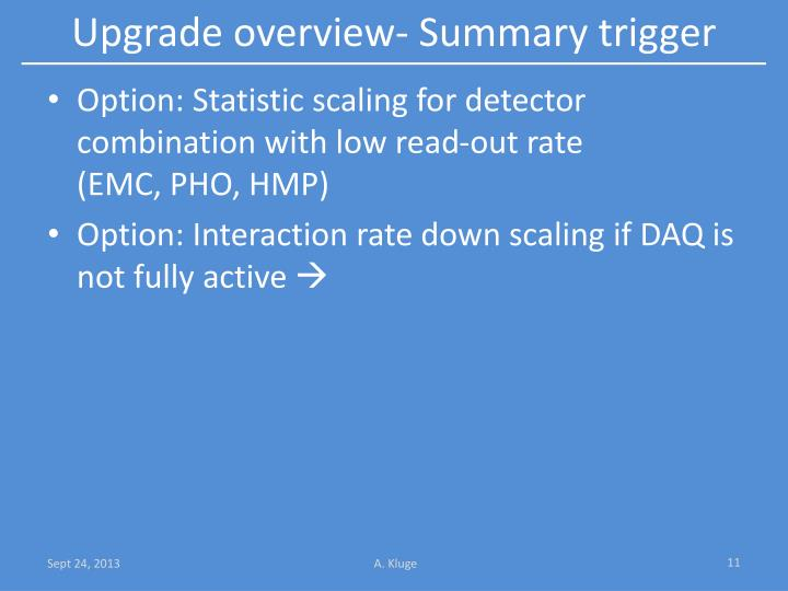 Upgrade overview-