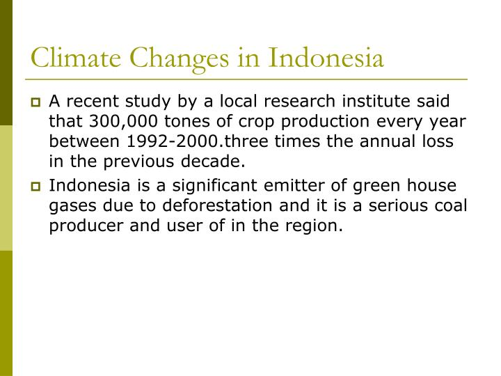Climate Changes in Indonesia