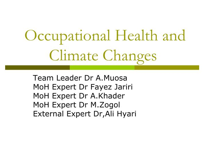 Occupational health and climate changes