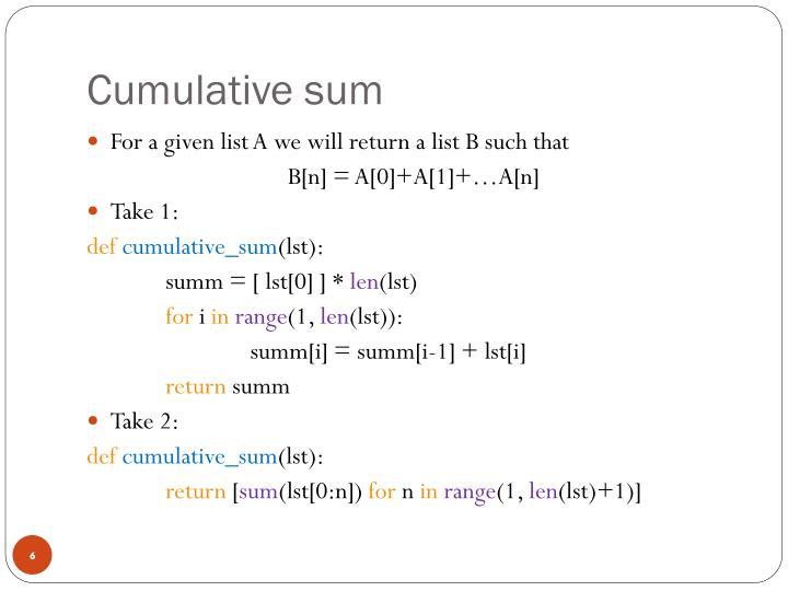 Cumulative sum