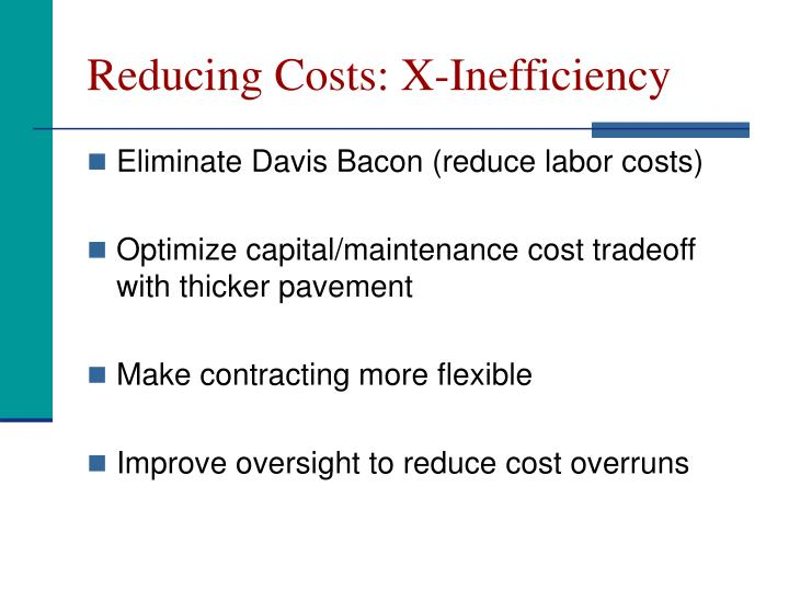 Reducing Costs: X-Inefficiency