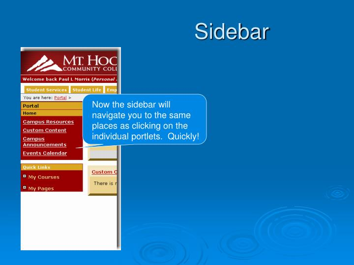 Now the sidebar will navigate you to the same places as clicking on the individual portlets.  Quickly!
