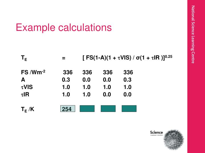 Example calculations
