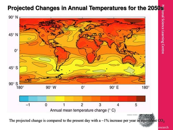 Projected Changes in Annual Temperatures for the 2050s