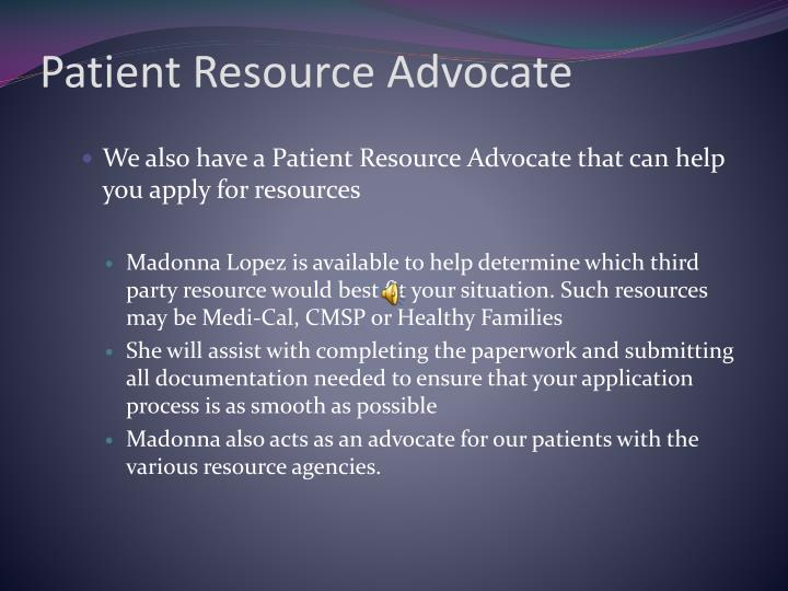 Patient Resource Advocate