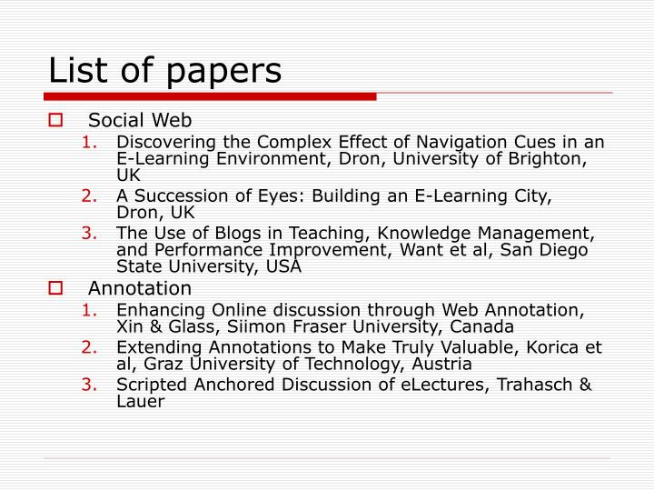 List of papers