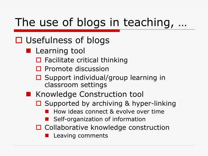 The use of blogs in teaching, …