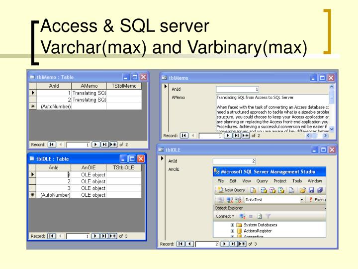 Access & SQL server Varchar(max) and Varbinary(max)
